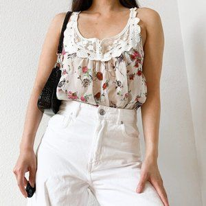 Forever 21 White Floral Sheer Tank Top S